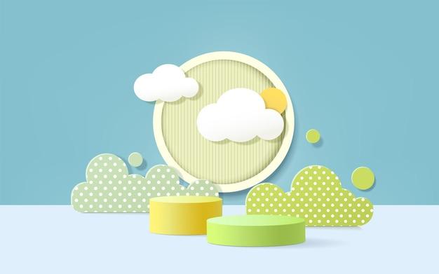 Podio del prodotto 3d, sfondo color pastello, nuvole, tempo con spazio vuoto per bambini o prodotti per bambini.