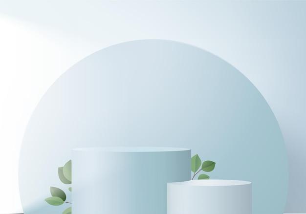 I prodotti 3d visualizzano la scena del podio con la piattaforma geometrica della foglia verde. rendering 3d con podio. vetrina del palco su piedistallo display blu studio
