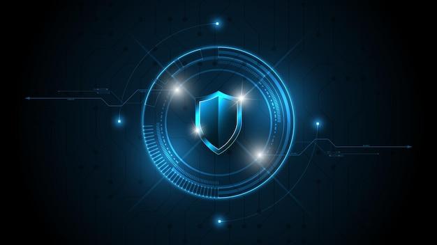 3d protected guard scudo concetto di sicurezza sicurezza cyber digitale il fondo astratto di tecnologia protegge il concetto di innovazione del sistema illustrazione vettoriale