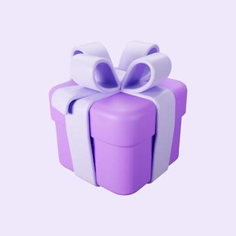 Confezione regalo viola 3d con fiocco in nastro pastello isolato su uno sfondo chiaro. rendering 3d scatola di sorpresa vacanza moderna volante. icona vettoriale realistica per banner regalo, compleanno o matrimonio