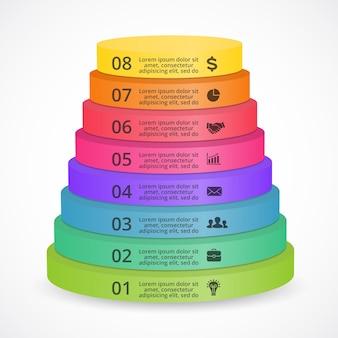 Modello di presentazione infografica vettoriale piramide 3d diagramma circolare 8 passaggi parti