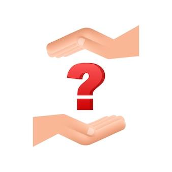3d punto interrogativo nelle mani per concept design tecnologia illustrazione vettoriale