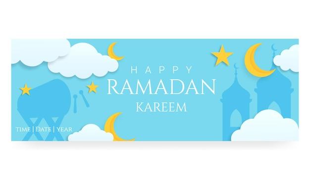 Modello di banner orizzontale 3d ramadan kareem con nuvole di luna e stelle