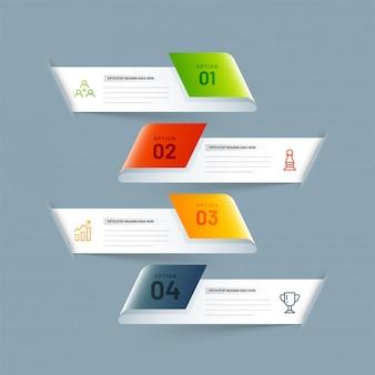 Progettazione di infographics di affari di 4 livelli realistici 3d.