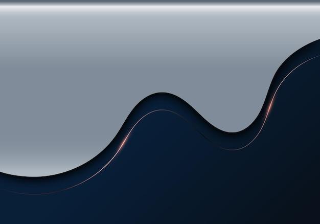 Modello 3d di lusso astratto realistico a forma d'onda e linea in oro rosa con illuminazione su sfondo blu metallico. illustrazione vettoriale
