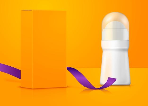 Flacone di deodorante pubblicitario realistico 3d con scatola