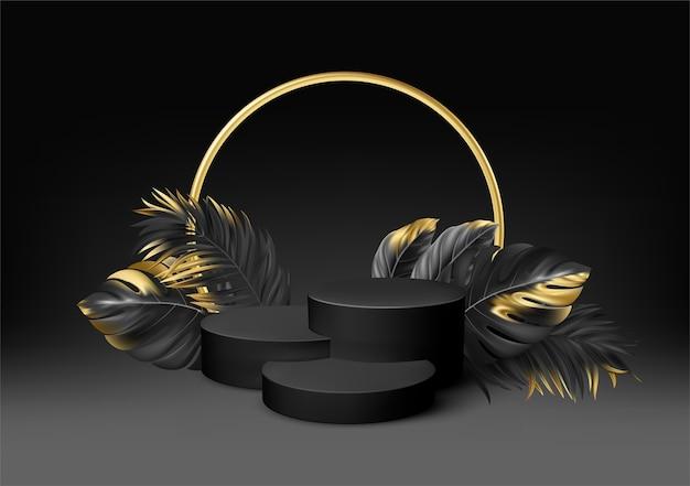 Piedistallo nero realistico 3d con foglie di palma dorate.