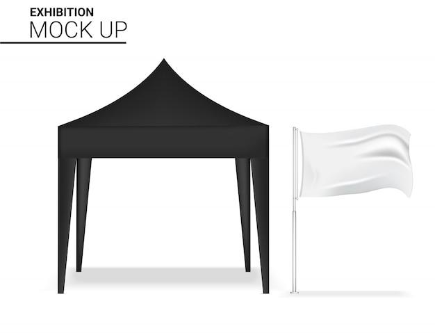 Pop realistico dell'esposizione della cabina 3d per la mostra di promozione di vendita di vendita del negozio con l'illustrazione del fondo del modello dell'insegna della bandiera Vettore Premium