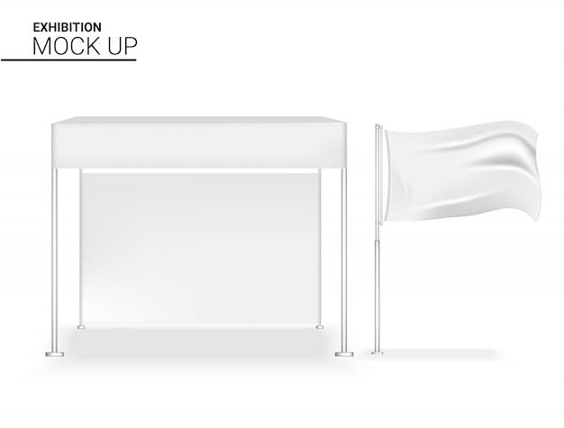 Pop realistico dell'esposizione della cabina 3d per la mostra di promozione di vendita di vendita del negozio con rotoli sull'illustrazione del fondo del modello dell'insegna