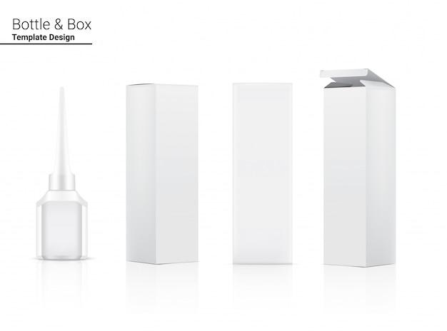 Bottiglia realistica 3d per l'imballaggio dell'eye-liner prodotto cosmetico e contenitore della scatola sull'illustrazione bianca del fondo. assistenza sanitaria e oggetti per il trucco.