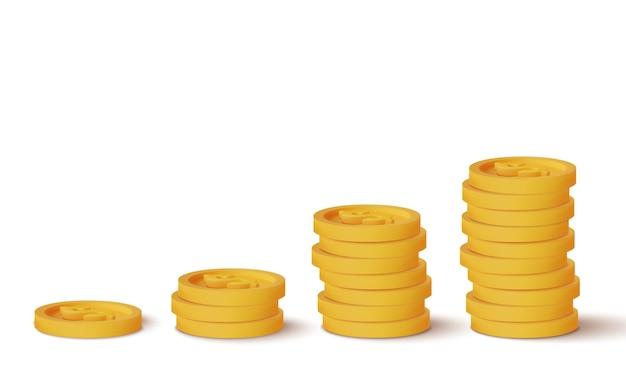 Monete realistiche 3d isolate su bianco