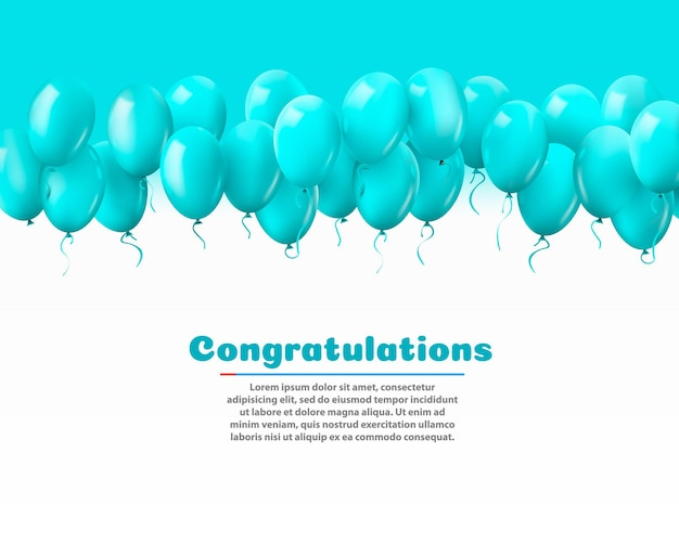 3d realistico colorato mazzo di palloncini di compleanno che volano per feste e celebrazioni con spazio per il messaggio isolato in uno sfondo bianco. illustrazione vettoriale