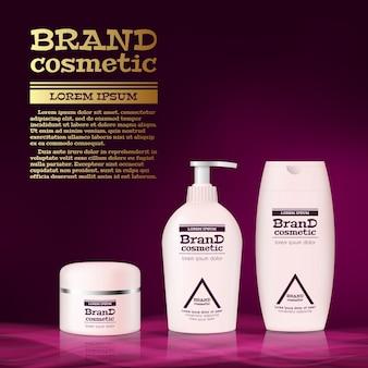 Modello di annunci di bottiglia cosmetica realistica 3d