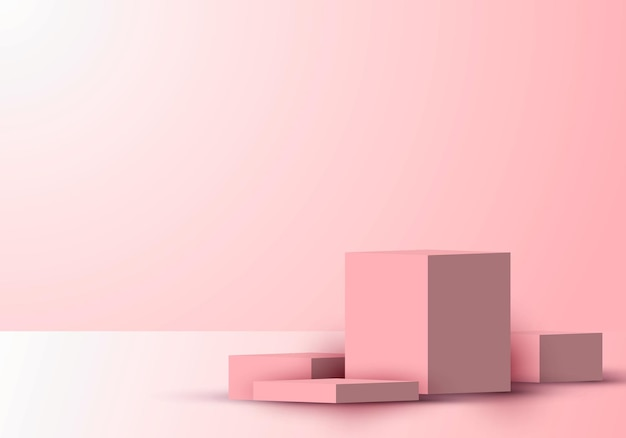 Il podio 3d realistico a forma di cubo o il display del prodotto della piattaforma mostrano lo sfondo rosa con illuminazione. è possibile utilizzare il design per la presentazione del prodotto, il mockup, ecc. illustrazione vettoriale