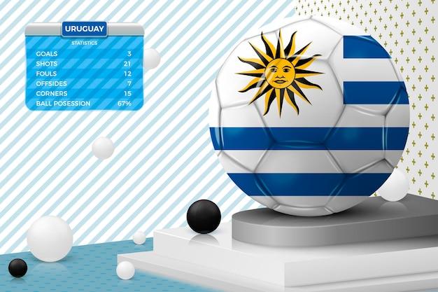 Pallone da calcio realistico 3d con bandiera dell'uruguay