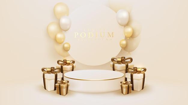 Confezione regalo realistica 3d con nastro dorato e palloncini circondano il podio bianco