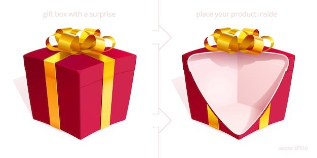 Contenitori di regalo realistici 3d con un arco dorato. la scatola rossa è aperta con un taglio per mostrare qualsiasi prodotto di gioielleria nascosto.