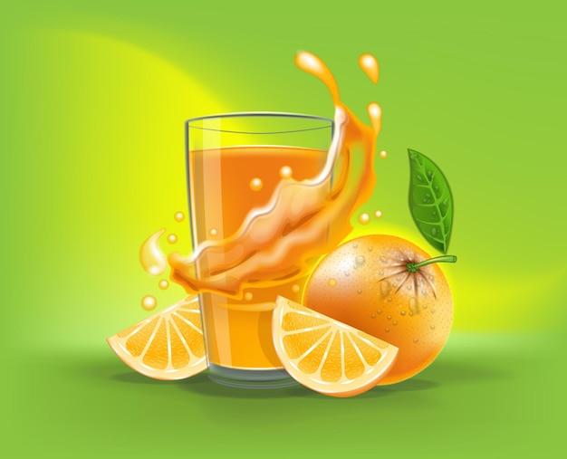 Bicchiere realistico 3d di succo d'arancia con spruzzi e fette di arancia