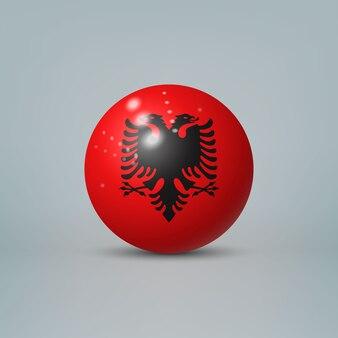 Sfera o sfera di plastica lucida realistica 3d con bandiera dell'albania