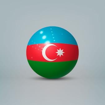 Sfera o sfera di plastica lucida realistica 3d con la bandiera dell'azerbaigian