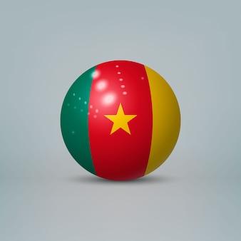 Sfera o sfera di plastica lucida realistica 3d con bandiera del camerun