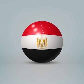 Palla o sfera di plastica lucida realistica 3d con la bandiera dell'egitto