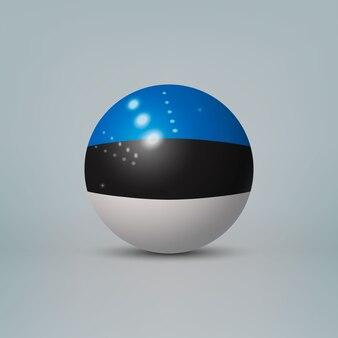 Sfera o sfera di plastica lucida realistica 3d con bandiera dell'estonia