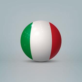 Sfera o sfera di plastica lucida realistica 3d con la bandiera dell'italia