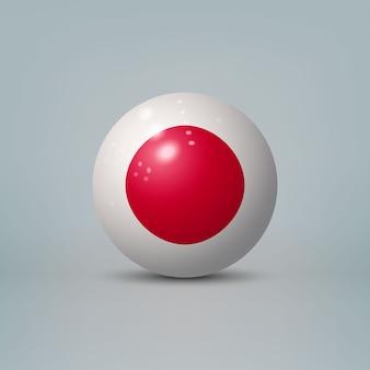 Sfera o sfera di plastica lucida realistica 3d con la bandiera del giappone.