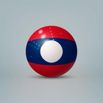 Sfera o sfera di plastica lucida realistica 3d con bandiera del laos