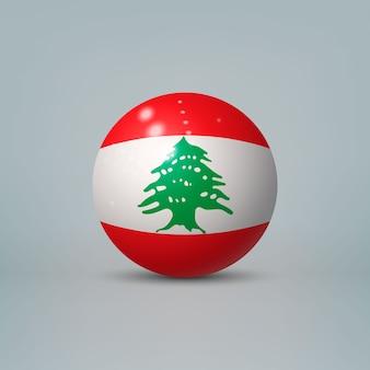Sfera o sfera di plastica lucida realistica 3d con la bandiera del libano