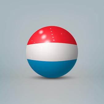 Sfera o sfera di plastica lucida realistica 3d con la bandiera del lussemburgo