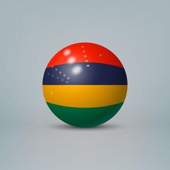 Sfera o sfera di plastica lucida realistica 3d con bandiera di mauritius