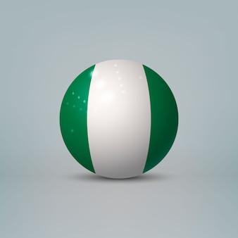 Sfera o sfera di plastica lucida realistica 3d con bandiera della nigeria