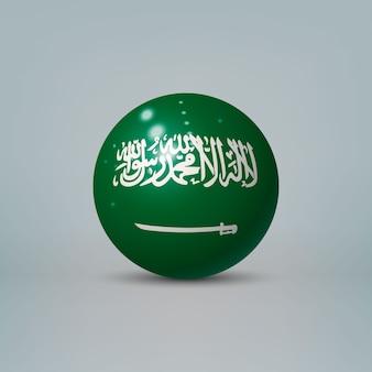 Sfera o sfera di plastica lucida realistica 3d con bandiera dell'arabia saudita