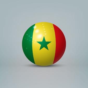 Sfera o sfera di plastica lucida realistica 3d con bandiera del senegal