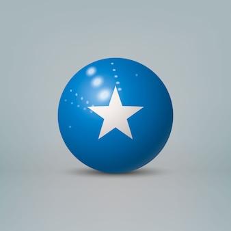 Palla o sfera di plastica lucida realistica 3d con bandiera della somalia