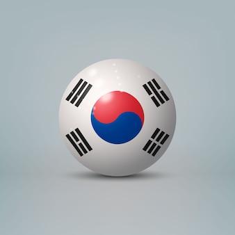 Sfera o sfera di plastica lucida realistica 3d con bandiera della corea del sud.
