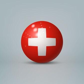 Sfera o sfera di plastica lucida realistica 3d con bandiera della svizzera