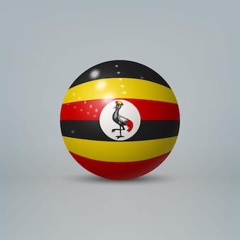 Sfera o sfera di plastica lucida realistica 3d con la bandiera dell'uganda