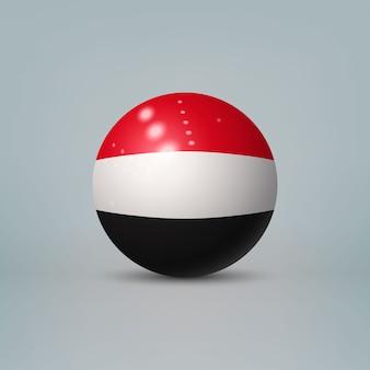 Sfera o sfera di plastica lucida realistica 3d con la bandiera dello yemen