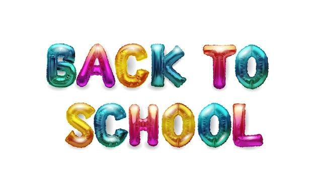 Palloncini di elio realistici 3d sotto forma di lettere per tornare a scuola.