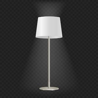 Lampada da terra decorativa vintage illuminata realistica 3d isolata su sfondo trasparente.