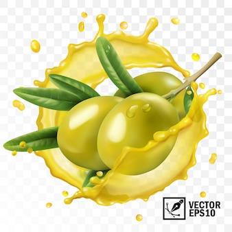 Spruzzata trasparente isolata realistica 3d di olio d'oliva con un ramo dei frutti verde oliva con le foglie