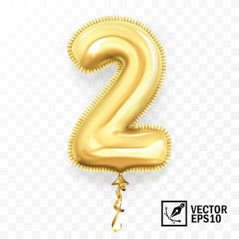 3d realistico isolato con numero due, 2, palloncino d'oro elio