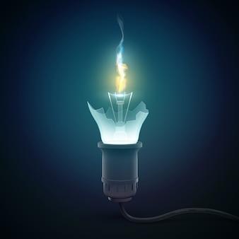 Concetto realistico della lampadina 3d con lampadina rotta e fuoco da lì