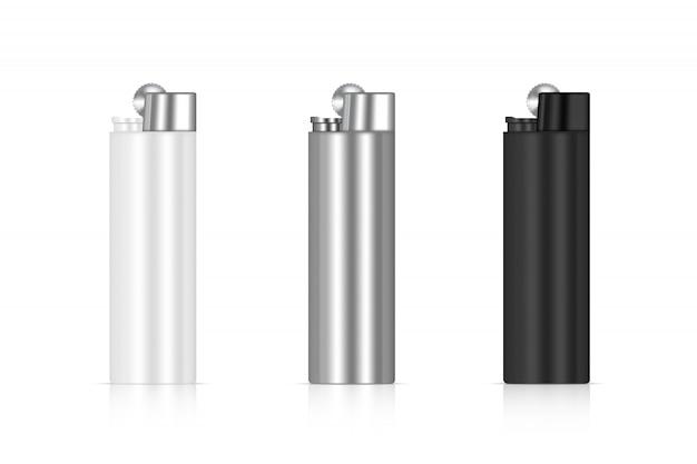 Imballaggio realistico più leggero della fiamma 3d. marchio di merce antincendio. modello di oggetto su sfondo bianco.