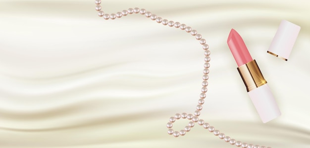 Rossetto realistico 3d su seta bianca con modello di progettazione di perle di prodotti cosmetici di moda