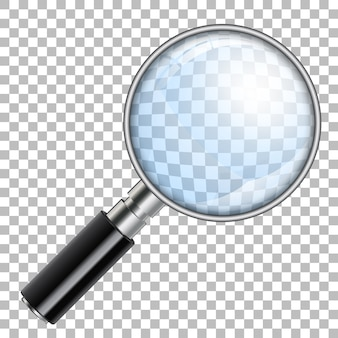 Lente d'ingrandimento realistica 3d, lente d'ingrandimento, ingrandimento su sfondo trasparente. isolato Vettore Premium