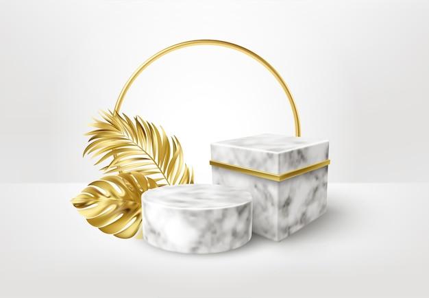Piedistallo in marmo realistico 3d con foglie di palma dorate.